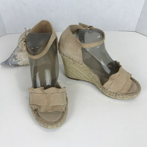 Marc Fisher heeled espadrille suede sandals Sz 7M